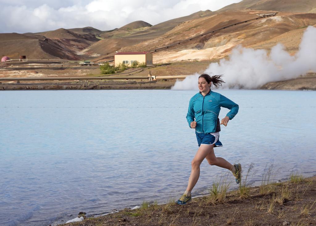 Yitka Winn running in Iceland.